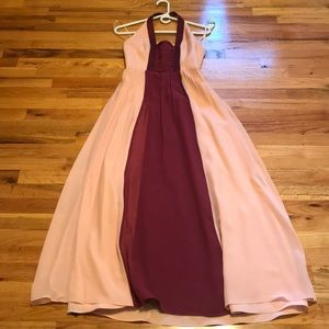 BCBG Paris Wedding / Prom Dress Pink and Burgundy